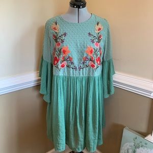 Umgee Green Embroidered Boho Dress Size Large
